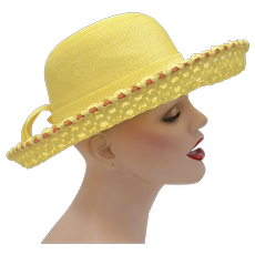 c1960s Yves Saint Laurent Paris New York Designer Yellow w/ Orange Accents Netted & Woven Straw Wide Brim Hat