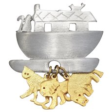 Ultra Craft Signed Pewter Noah's Ark w/ Goldtone Tiger, Lion & Hippo Dangle Brooch/Pin