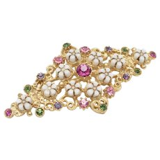Florenza Signed Colorful Glass Rhinestones & Petite Flowers Brooch/Pin