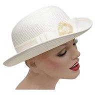 "Signed ""Deborah New York"" Bowler Hat w/ Iridescent Sequin & Bead Flower Embellishment on Bow"