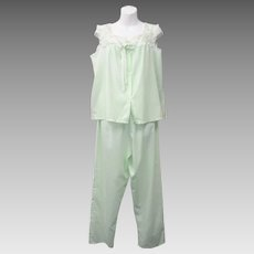 Gaymode 2-Pc Sea Green Sleepwear Set w/ Embroidered Flowers and Neckline Border - Size M