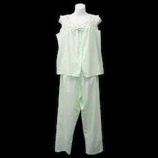Gaymode 2-Pc Sea Green Sleepwear Set w/ Embroidered Flowers and Neckline Border - Size M