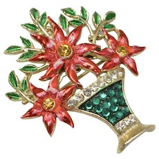 Rare WEISS Signed Red Enamel & Green Rhinestone Poinsettia Christmas Flower Brooch/Pin