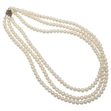 "Signed NJR 16"" White Freshwater Pearl Triple Strand Necklace w/ Fancy Sterling Clasp"