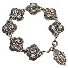 Sterling Silver Religious Rose Catholic or Christian Charm Bracelet in Original Velvet Box