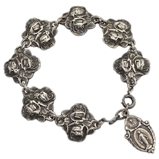 Sterling Silver Religious Rose Catholic or Christian Charm Bracelet in Original Velvet Box
