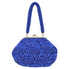 Cobalt Blue Egg Bead Handbag Purse w/ Embellished Handle