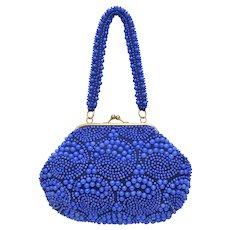 Cobalt Blue Egg Bead Handbag Purse w/ Embellished Handle