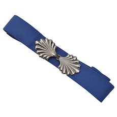 Deep Blue Adjustable Stretch Belt w/ Leaf Buckle