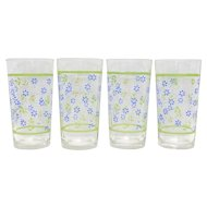 Set of 4 Blue Flower w/ Green Leaf & Border Glass Tumblers