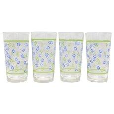 Set of 4 Blue Flower w/ Green Leaf & Border Glass Tumblers
