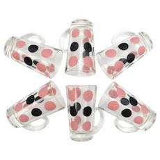 Rare Hazel Atlas Set of 6 Pink & Black Polka Dot Glass Patio Mugs