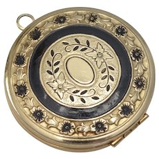 c1900 Large Ornate Black Enamel Flowers Gold-tone Locket w/ Original Insert - No Monogram