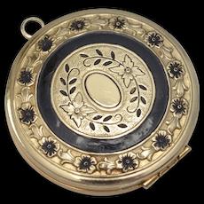 c1900 Large Ornate Black Enamel Flowers Gold-tone Locket w/ Original Insert - No Monogram