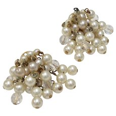 Lisner Signed Cha Cha Lucite & Faux White Pearl Cluster Dangle Clip Earrings