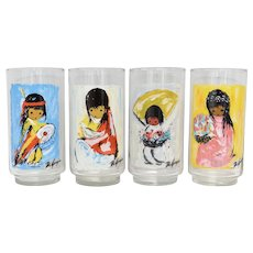 Set of 4 Ted De Grazia Native American Southwestern Inspired Drinking Glasses/Tumblers