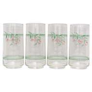 Set of 8 Corelle Rosemarie Pink Flower Drinking Glasses Tumblers