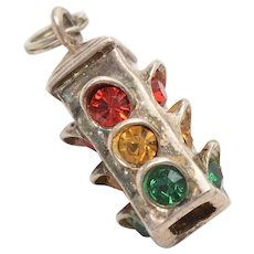 Sterling Silver w/ Red, Yellow & Green Rhinestones Traffic Light Charm