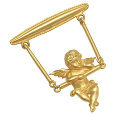 "Signed ""JJ"" Gold-tone Swinging Cherub/Angel Baby Pin/Brooch"