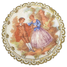 Signed Western Germany Gold-tone Victorian Couple Faux Porcelain Sugar Pin/Brooch