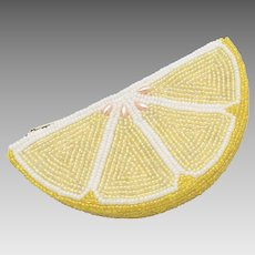 "c1966 ""De LiLL"" Beaded Lemon Slice Zippered Coin Purse/Pouch"