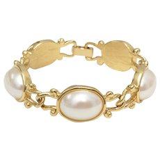 Signed Marvella Oval Faux White Pearl Cabochon Goldtone Link Bracelet