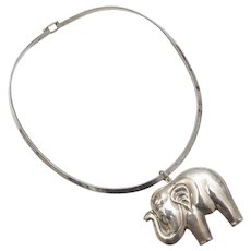 Sterling Silver Large Puffy 3D Elephant Statement Pendant Choker Necklace