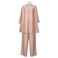 Vanity Fair 2-Pc Salmon Pink Nylon Shirt w/ Clear Lucite Bead Buttons & Matching Pants Lounge Set - Size 12
