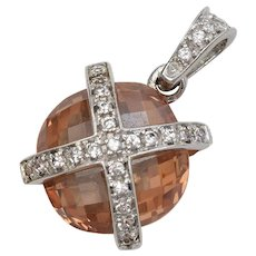 Sterling Silver Dangle Pendant w/ Orange Checkered Cut Round Gemstone & Rhinestones
