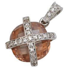 Sterling Silver Dangle Pendant w/ Orange Checkered Cut Round Gemstone & Rhinestones