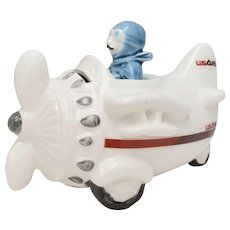 'US Air' Black Handlebar Moustached Pilot in White Ceramic Airplane Piggy / Coin Bank