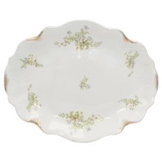 "J & G Meakin 14"" Blue Flower & Gold Speckle MEK38 Semi-Porcelain White Oval Serving Platter"
