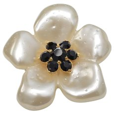 Replica Collection Italy Pearl White & Black Rhinestone Flower Brooch/Pin