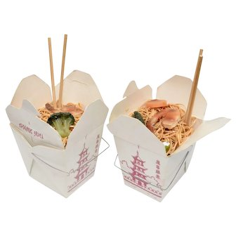 Bard Signed Pair of 'Chinese Take-Out' Faux Food Shrimp Lo Mein w/ Vegetables & Chop Sticks ~ Fun Fake Display