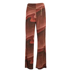 c1980s Funky Metallic USA Made Maroon Wave Lurex Fabric Wide-leg High-waist Stretch Pants w/ Link Chain Belt