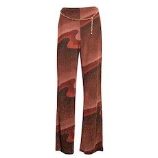 c1980s Funky Metallic USA Made Maroon Wave Lurex Fabric Wide-leg High-waist Stretch Pants w/ Link Chain Belt