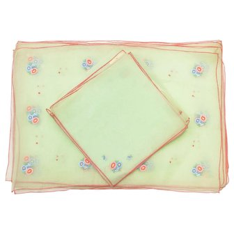12-Pc Swiss Made Sheer Lime Green Chiffon Gauzy Fabric Embroidered Flower Set of 8 Placemats & 4 Coordinating Napkins