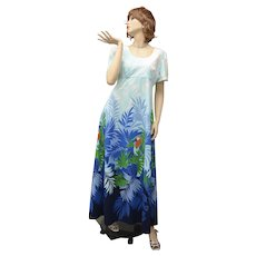 c1960s Tori Richard Honolulu Designer 'Birds of Paradise' Orange Parrot w/ Blue Green Foliage Hawaiian Maxi Dress