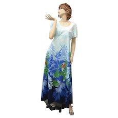 c1960s Tori Richard Honolulu Hawaii USA Designer 'Birds of Paradise' Orange Parrot w/ Blue Green Foliage Maxi Dress