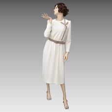 New Old Stock Leslie Fay Cream White Long Sleeve Secretary Dress w/ Belt - Size 12 ~ Original Tags