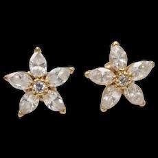 14K Gold Signed MFA Museum of Fine Arts CZ Flower Stud Earrings