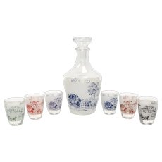 c1960s 8 Piece Set of Verrerie Cristallerie D'Arques French Country Decanter w/ 6 Cordial or Shot Glasses - Made in France