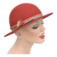 Mr. K Designer Sienna Brown 100% Wool Felt Cloche Hat w/ Bow Accent