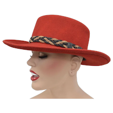 "Eddy Bros ""Gambler"" Lite Felt 100% Wool Water Repellent Red Wide Brim Hat w/ Braided Belt Embellishment"