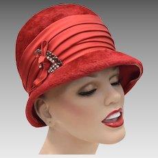 c1960s W. Germany 'Empress' Designer Red Faux Fur Wool Hat w/ Rhinestone & Bow Accent
