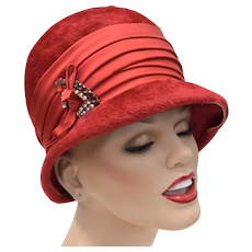 "c1960s Western Germany ""Empress"" Red Fuzzy Wool Hat w/ Rhinestone & Bow Embellishment"