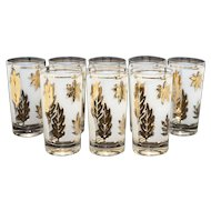 "c1960s Libbey 22k Gold Leaf Pattern ""Golden Foliage"" Frosted Glasses - Set of 8"