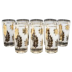 "c1960s Libbey 22k Gold Leaf Pattern ""Golden Foliage"" Frosted Glasses - Set of 8"
