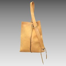 Rustic Mustard Yellow Genuine Raw Leather Shoulder Bag w/ O-Ring Brass Hardware