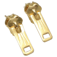 Fun Gold-tone Zipper Pull Tab Stud Earrings